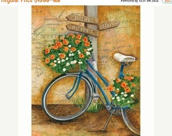 25% OFF PRINTS The Journey Bicycle with Flowers 8x10 or 11x14 Inspirational Hope Joy Peace Art Print