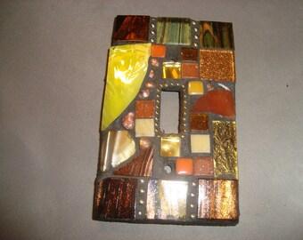 MOSAIC Light Switch Plate -  Single Switch, Wall Plate, Wall Art, Bronze, Gold, Yellow, Gold, Silver
