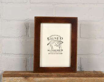 5x7 inch Picture Frame in 1x1 Flat Style with Super Vintage Mahogany Finish - IN STOCK - Same Day Shipping - 5 x 7 Solid Wood Frame