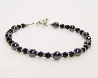 Hematite and Crystal Bracelet, Beaded Bracelet, Gift For Her, Free Shipping