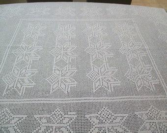 Vintage Filet Crochet Tablecloth White