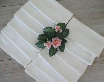 12 Vintage Cotton Napkins White