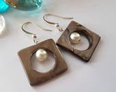 Geometric Square and Round Sea Shell Earrings - Natural Brown Dangle Seashell Earrings