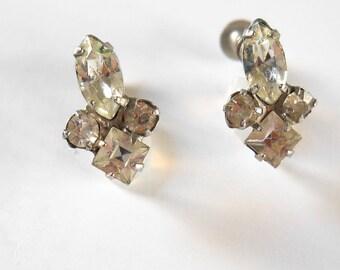 Vintage Rhinestone Earrings • Screw on Earrings