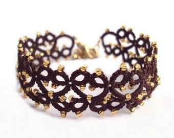 Steampunk Brown , Gold Tatted Bracelet - Lillian - Adjustable