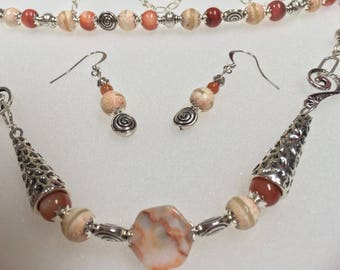 Womens one of a kind 'Sunset with Silver' Jewelry Set