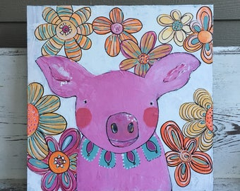 Pig painting , acrylic painting , girls wall art, whimsical art, original painting , pinks
