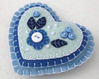 Felt Christmas ornament, Handmade felt heart ornament, Blue and white heart, Felt heart Christmas decoration, Embroidered heart ornament.