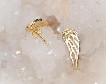 Gold cartilage studs, Wing ear studs, Angel wing cartilage earrings, Gold Plated wing ear studs, Ear climbers studs, Bohemian jewelry, TRIBU