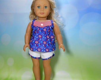 18 inch doll clothes, Two Piece Outfit, Blue Happy 4th Top, White, Twill Track Shorts, 05-2124