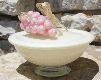 Vintage Mid Century Modern Barbini Gold Flake Pink Grape Cluster Lidded Murano Glass Candy Dish
