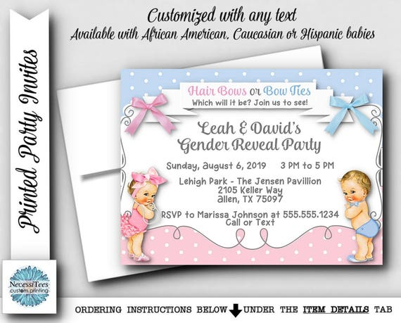 Party Invitations Envelope Gender Reveal Party Invites Baby – Baby Gender Reveal Party Invitations