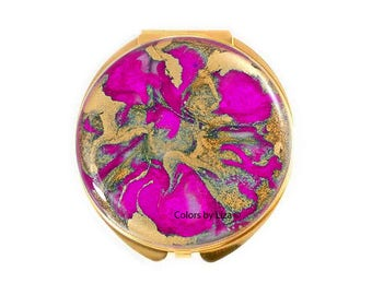 Round Compact Mirror Hand Painted EnamelFuchsia and Gold Quartz Inspired Custom Colors and Personalized Options
