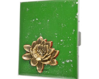 Lotus Flower Metal Cigarette Case Hand Painted Enamel Green with Silver Splash Zen Inspired with Custom Colors and Personalized Options