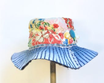 Handmade Summer Hat with Wide Brim Floral Boho Design