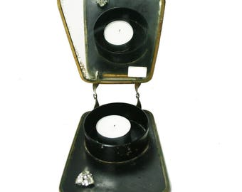 Vintage Art Deco Folding Travel Shaving Mirror Embellished Vintage Candle Holder Vintage Mirror  AS4