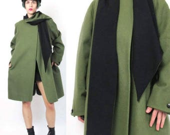25% off Summer SALE 80s Scarf Coat Winter Green Wool Coat Black and Green Built in Scarf Coat Draped Womens Vintage Modern Minimalist Avant