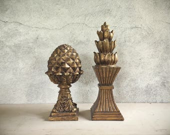 Pair of vintage gold-painted acorn finial pineapple decor, architectural salvage industrial decor, cottage chic wedding centerpiece