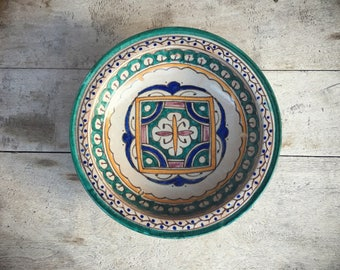 "Vintage 10"" Guatemalan pottery bowl decorative wall hanging rustic home decor ceramics and pottery"