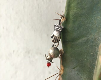 Very Small Pomegranate and Hand Earrings with Coral Bead, Mexican Silver Earrings