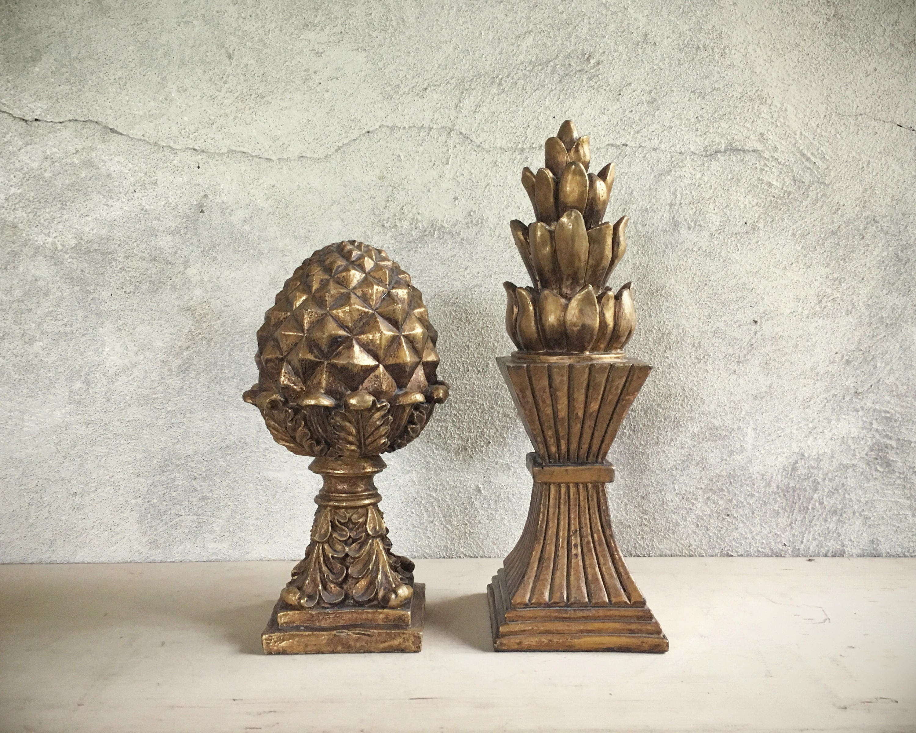 Pair Of Vintage Gold-painted Acorn Finial Pineapple Decor