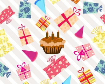 Birthday HR-Digital ClipArt-Cupcake-Food Background-Artclip-Birthday Party-Birthday Card.