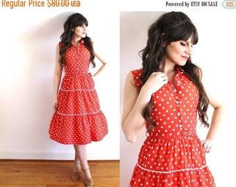 ON SALE 1940s Dress / 40s Red Polka Dot Dress