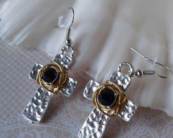 Rustic Cross Earrings