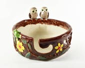 Ceramic yarn bowl with green frog & owl figurines hand crafted  Anita Reay Australian pottery - owl bowl - owl dish - owl decor