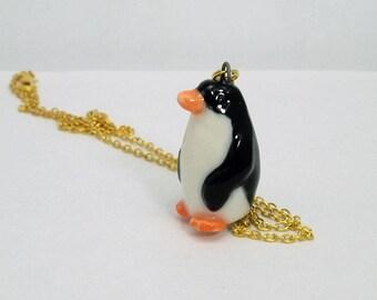 porcelain ceramic penguin figurine charm or pendant w free chain Anita Reay ceramic cocktoo bird art / penguin totem / hand sculpted