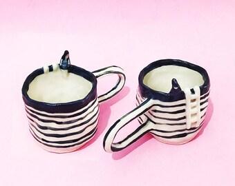 PREORDER Waiting Mug, Hand-Built Pottery Girl Mug, Waiting Tea Cup