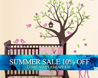 Nursery Wall Decals - Tree with Birds and Fawn