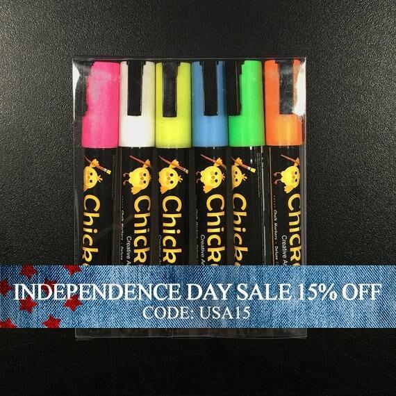 Independence Day Sale - FINAL SALE - Chalk Ink - Chalkboard Marker - Chickarts - 6 Color Pen Set - 6mm