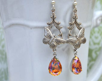 sterling silver earrings - BUTTERFLY IN MOTION - victorian style antiqued silver earrings with pear shaped Swarovski jewels