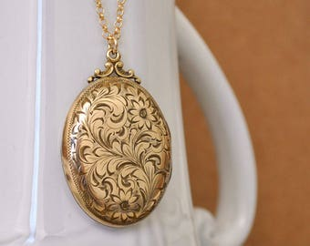 vintage gold filled locket, etched floral gold locket, large oval locket, THE MEMORIES WITHIN vintage find locket necklace with rolo chain