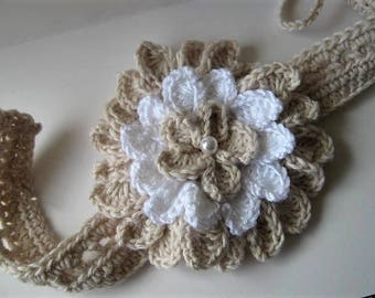 NEW DESIGN - Orchid Headband and Flower Crochet Pattern - Fully adjustable to suit any size - Perfect for Christening