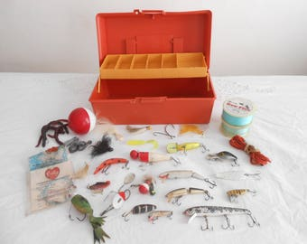 Vintage Tackle Box with Vintage Fishing Lures and Accessories 60's-70's Era