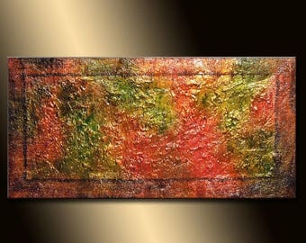 Original Textured Abstract Painting, Thick Textured Gold  Metallic, Palette Knife Art by Henry Parsinia 48x24