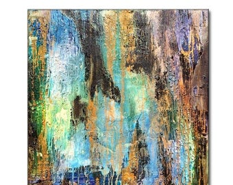 Original Textured Modern Large Abstract Metallic Thick Texture Gallery Canvas Contemporary Fine Art By Henry Parsinia 30x30