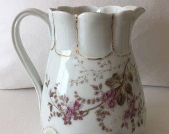 Vintage White Floral Pitcher ~ Ceramic