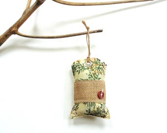 Autumn sachet, hang tag sachet, balsam pine sachet, gift under 10, closet freshener, scented sachet gift for her, rustic home decor