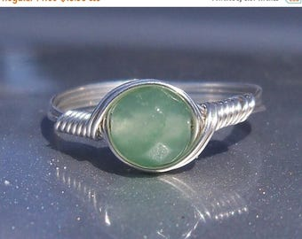 25% Off Sale Faceted Green Aventurine Ring Argentium Sterling Silver Wire Wrapped Stone Ring