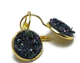 25% Off Sale Carborundum Crater Gold Tone Druzy French Earrings