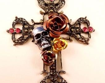 Cross Pendant Skull Pendant Flower Pendant Metal Pendant Goth Pendant Flower Pendant Cross Bead Brass Findings Skull Bead Flower Bead