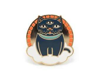 Mystic Cat - Hard Enamel Pin w/ Black Rubber Pin Clutch