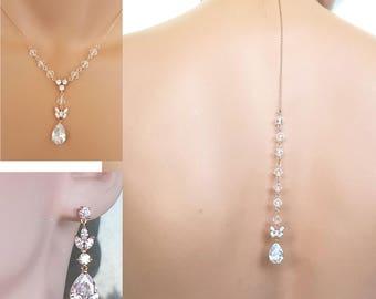 Rose gold Backdrop Wedding Necklace, Rose gold earrings, crystal necklace set,  Swarovski element Jewelry - Mia