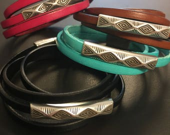 Leather Wrap Bracelet - Aztec Silver Slider - Double Wrap Bracelet