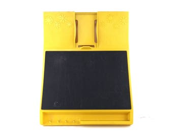retro kitchen. chalkboard. message center. vintage rubbermaid. mustard yellow. hanging organizer. key hook for wall. vintage home decor. old