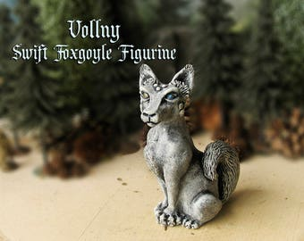 Vollny the Swift Foxgoyle - Miniature Fantasy Gargoyle Fox Figurine - Faceted Crystal Eyes -Handmade and Hand-Painted Polymer Clay Sculpture