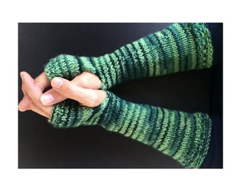 Fingerless Gloves - Arm Gloves - Women's Gloves - Hand-Knit Gloves - Arm-Length Gloves - Green Striped Gloves - Green Arm Gloves - Striped